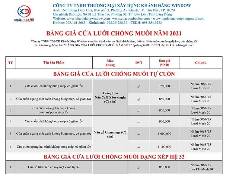 bảng giá cửa lưới chống muỗi 2021 tại lâm đồng p1