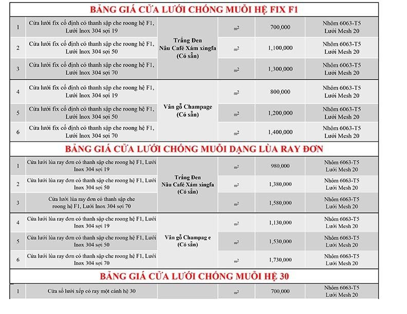 bảng giá cửa lưới chống muỗi 2021 tại lâm đồng p3