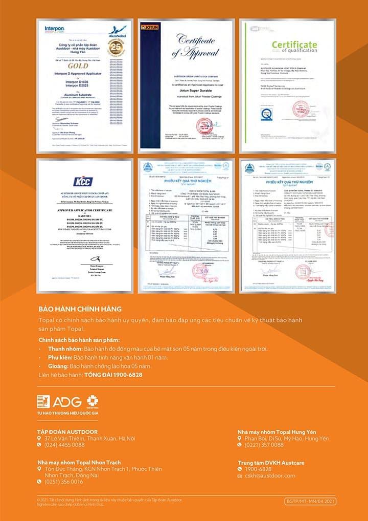 hồ sơ chất lượng cửa nhôm Topal