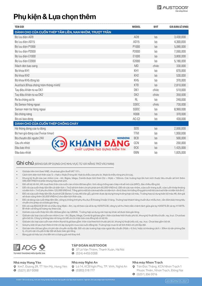 bảng giá phụ kiện cửa cuốn austdoor 052021