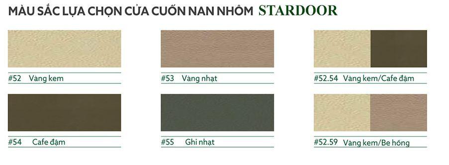Bảng màu cửa cuốn nan nhôm Stardoor