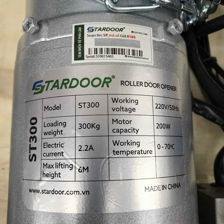 thông số kỹ thuật mô tơ cửa cuốn Stardoor ST300